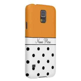Orange Custom Name, Black & White Polka Dots Case For Galaxy S5