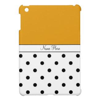 Orange Custom Name, Black & White Polka Dots iPad Mini Cases