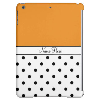 Orange Custom Name, Black & White Polka Dots Case For iPad Air