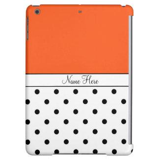 Orange Custom Name, Black & White Polka Dots iPad Air Cases