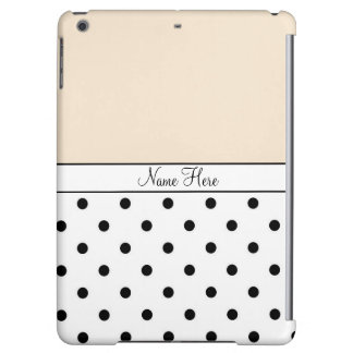 Orange Custom Name, Black & White Polka Dots iPad Air Case