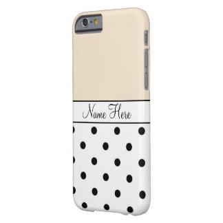 Orange Custom Name, Black & White Polka Dots Barely There iPhone 6 Case