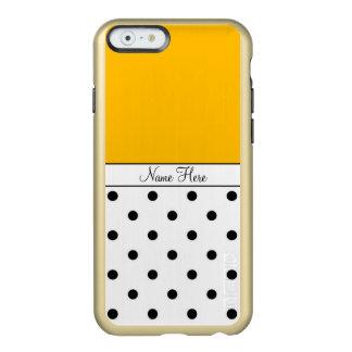 Orange Custom Name, Black & White Polka Dots Incipio Feather® Shine iPhone 6 Case