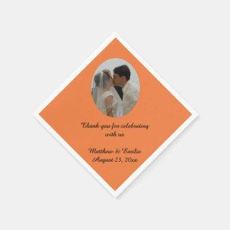 Orange Custom Personalized Wedding Photo Napkins Paper Napkin