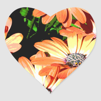 Orange Daisies Heart Sticker