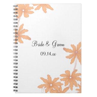 Orange Daisies on White Wedding Notebook