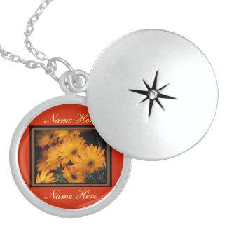 Orange Daisies Round Locket Necklace