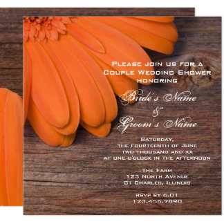 Orange Daisy and Barn Wood Couples Wedding Shower Card