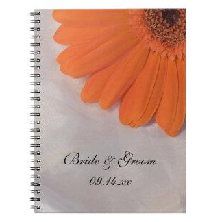 Orange Daisy and White Satin Wedding Notebooks