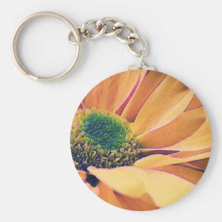 Orange Daisy Basic Round Button Key Ring