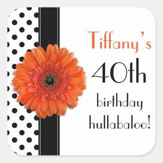 Orange Daisy Black White Polka Dot 40th Birthday Square Sticker