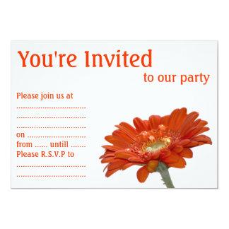 Orange Daisy Gerbera Flower Custom Invites