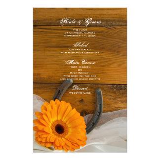 Orange Daisy Horseshoe Country Barn Wedding Menu
