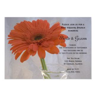Orange Daisy in Vase Post Wedding Brunch Invite