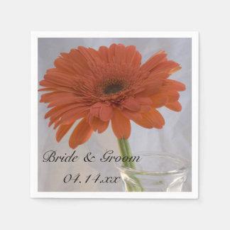 Orange Daisy in Vase Wedding Paper Serviettes