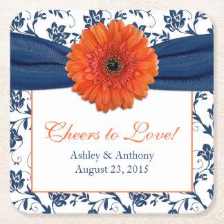 Orange Daisy Navy Blue Damask Personalized Wedding Square Paper Coaster