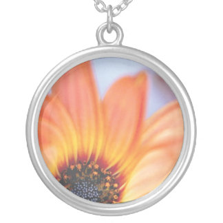 Orange Daisy Round Pendant Necklace
