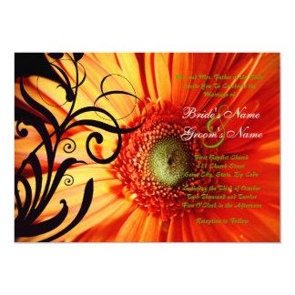 Orange Daisy Wedding Invitation