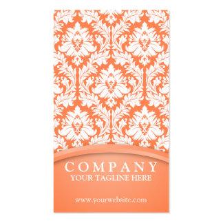Orange Damask Business Cards
