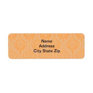 Orange Damask Return Address Label