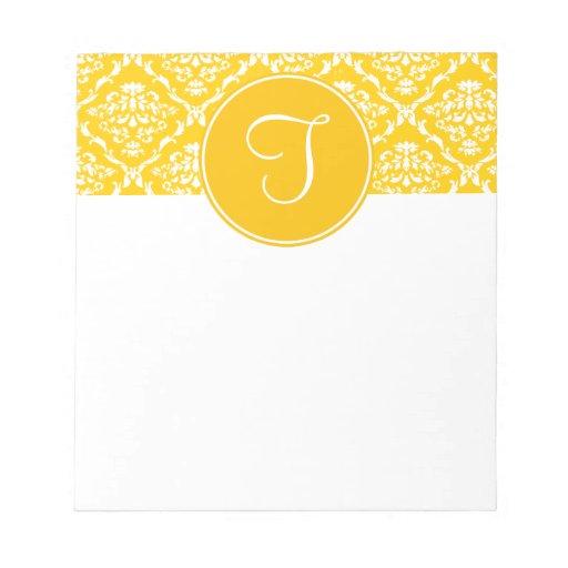Orange Damask Monogram Notepad