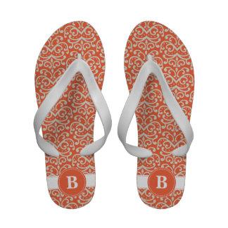 Orange Damask Monogram Sandals