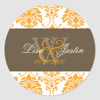 Orange Damask monogram wedding stickers