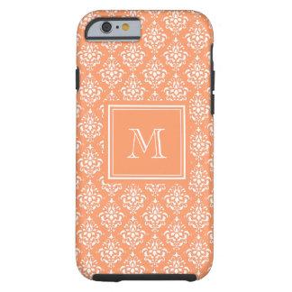 Orange Damask Pattern 1 with Monogram Tough iPhone 6 Case