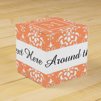 Orange Damask Pattern 1 with Monogram Favour Boxes