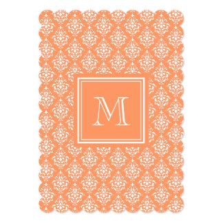 Orange Damask Pattern 1 with Monogram 5x7 Paper Invitation Card