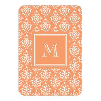 Orange Damask Pattern 1 with Monogram 3.5x5 Paper Invitation Card