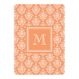 Orange Damask Pattern 1 with Monogram Personalized Announcement