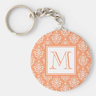 Orange Damask Pattern 1 with Monogram Basic Round Button Key Ring