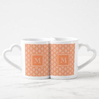 Orange Damask Pattern 1 with Monogram Couples' Coffee Mug Set