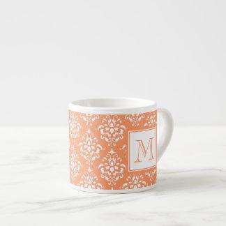 Orange Damask Pattern 1 with Monogram Espresso Mug