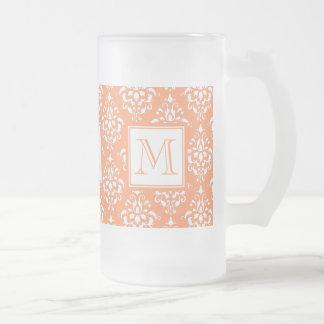 Orange Damask Pattern 1 with Monogram 16 Oz Frosted Glass Beer Mug