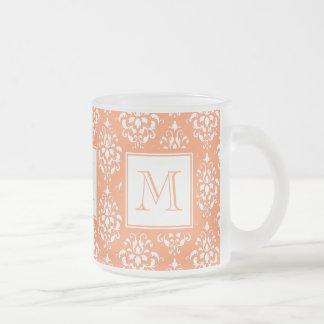 Orange Damask Pattern 1 with Monogram Frosted Glass Mug