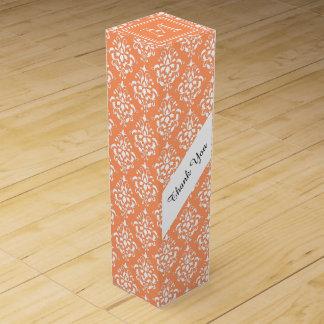 Orange Damask Pattern 1 with Monogram Wine Gift Boxes