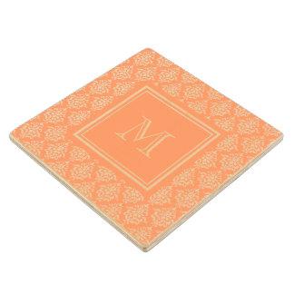 Orange Damask Pattern 1 with Monogram Wood Coaster
