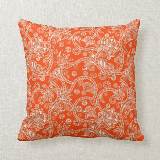 Orange Damask Swirl Pattern Throw Pillow