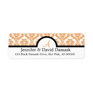 Orange Damask Wedding Monogram Labels