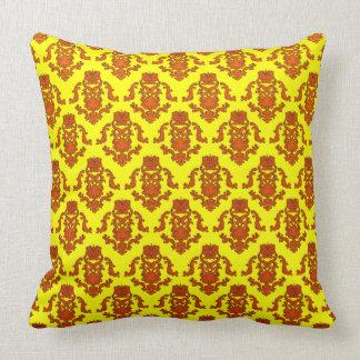 Orange Damasks On Yellow Pillow