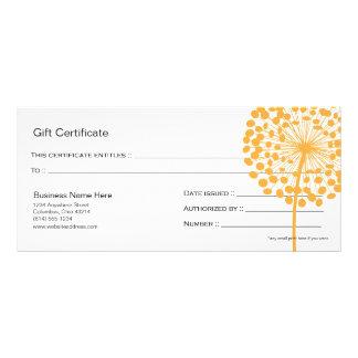 Orange Dandelion Flower Gift Certificate Design 3 Custom Rack Cards