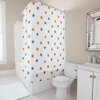 Orange dots grey starts pattern shower curtain