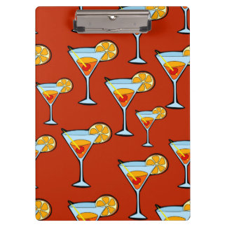 Orange Drink Pattern with Red Background Clipboards