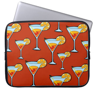 Orange Drink Pattern with Red Background Laptop Sleeves