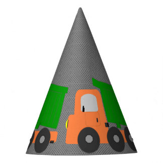 Orange Dump Truck Party Hat