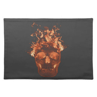 Orange Fire Skull Placemat