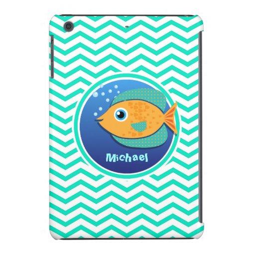 Orange Fish; Aqua Green Chevron iPad Mini Cover