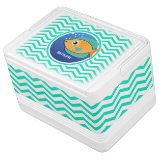 Orange Fish; Aqua Green Chevron Chilly Bin